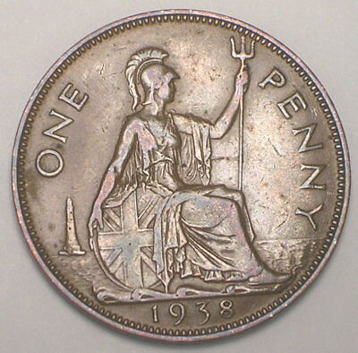 1938 UK Great Britain British One 1 Penny George VI WWII Era Coin VF+