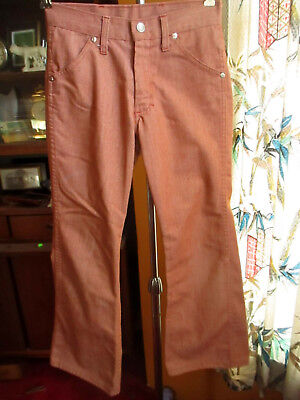 Sz 12 24x25 true Vtg 70s Boys/Girls SALMON PINK TOUGHSKINS BOOTCUT HIPPIE JEANS