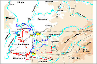 Poster, Many Sizes; Map Of Western Theater Of The American Civil War, From Belmo