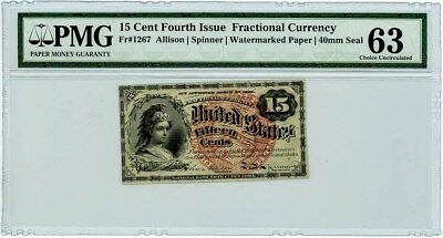 Fr. 1267 Fifteen Cent 15c 4th Issue Fractional Currency Ch Unc63 PMG