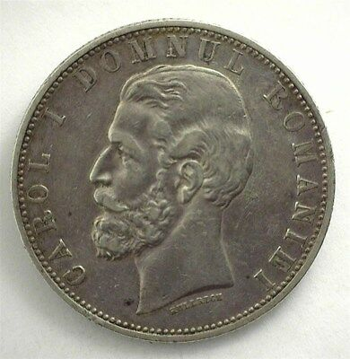 Romania 1881-B Silver 5 Lei  Extremely Fine  Km#12