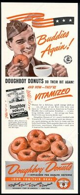 1941 Doughboy Donuts US soldier art vintage print ad