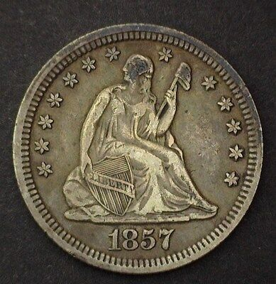1857 Seated Liberty Silver 25 Cents  Xf