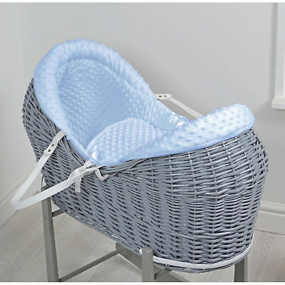 New 4Baby Blue Dimple Grey Wicker Baby Moses Basket / Rollover Snooze Pod