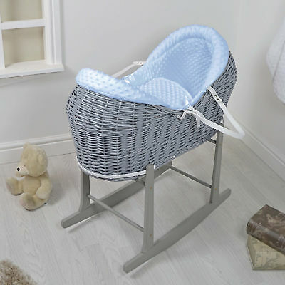 New 4Baby Blue Dimple Grey Wicker Moses Basket / Rollover Snooze Pod & Stand