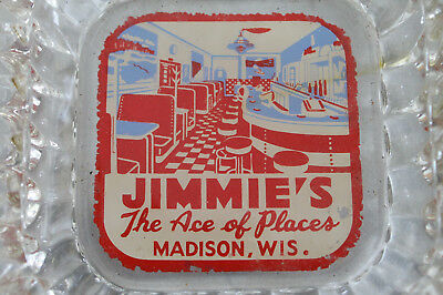 Vintage 1940's jimmies Ace Of Places Diner Madison WI Ash Tray Josie's Regent St