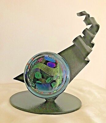 Rollin Karg Hand Blown Glass Signed Flagg Dichroic Sculpture with Metal Stand