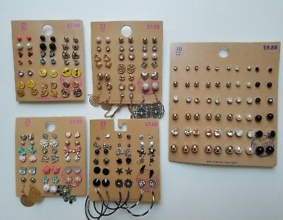 Lot of 114 Pairs of Studs Hoops  and Dangle Earrings Hypo Allergenic New