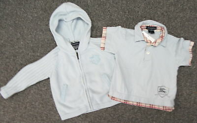 BURBERRY LOT OF 2 infant Lt blue polo shirt and cotton hooded sweater SZ 18M