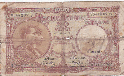 20 Francs Vg Banknote From German Occupied Belgium 1941!pick-111