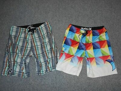 2 Pairs! Hurley Rusty Mens 36 Surfing Board Shorts Lot                        A2