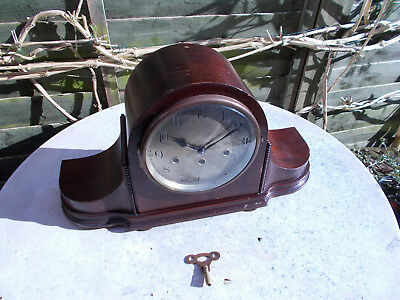 Junghans Wurttemberg A32 Napoleon Hat Westminster Mantle Clock Mahogany Case
