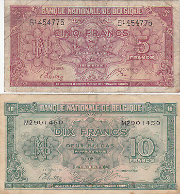 5&10 Francs Vg-Fine Banknotes From German Occupied Belgium 1943!pick-121-122