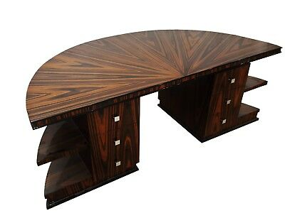 in 10 weeks Presidential Art Deco Style DESK in Bookmatched Makassar Ebony