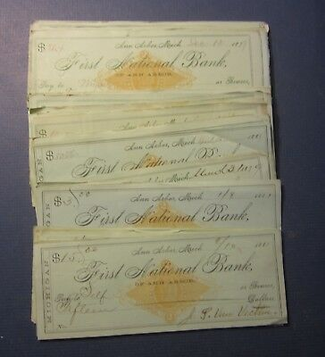 Wholesale Lot of 100 Old 1879-1882 ANN ARBOR Michigan Bank CHECKS Revenue STAMPS