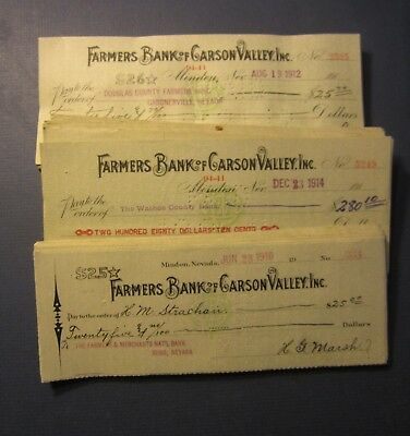 Wholesale Lot of 225 Old 1910-14 - Minden NEVADA - Bank CHECKS - Carson Valley