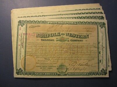 Wholesale Lot of  25 1880's NORFOLK WESTERN RAILROAD Stock Certificates KIMBALL
