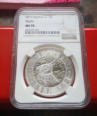 2017 Cayman Islands Marlin 1oz .999 Silver Coin NGC MS70 - Brown Label