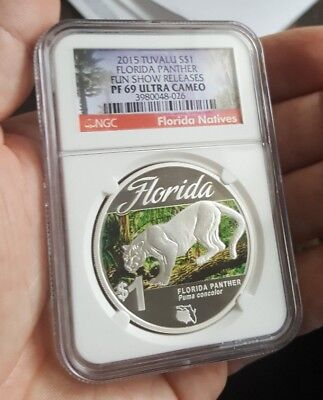 2015 Tuvalu Florida Panther 1oz .999 Silver Coin Fun Show Release, NGC PF70 UV