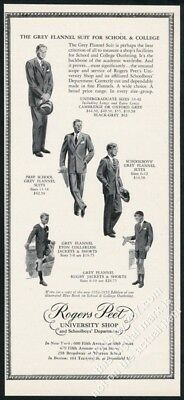 1954 Rogers Peet men boys grey flannel suit & short pants vintage fashion ad