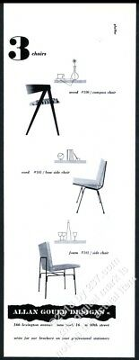 1953 Allan Gould modern Compass Chair Bow & side chairs vintage print ad