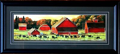 Large Angus Cattle Cows Autumn Pastures Art Print FRAMED Landscape Barns Picture