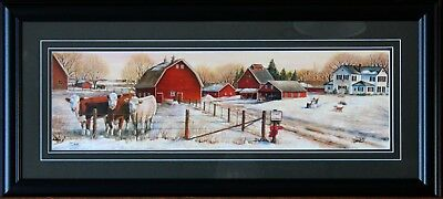 Large Framed Hereford Cattle Cows January Thaw Art Print Landscape Barns Picture