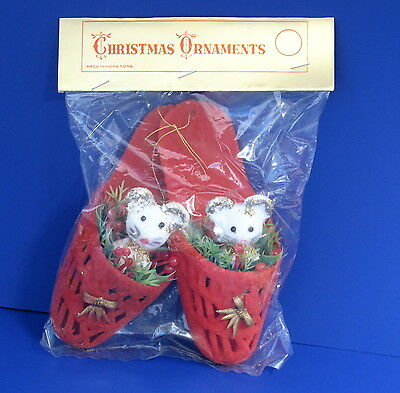 Lot of 2 Vintage Mice in Slippers Christmas Ornaments 70s New in Package Cute!