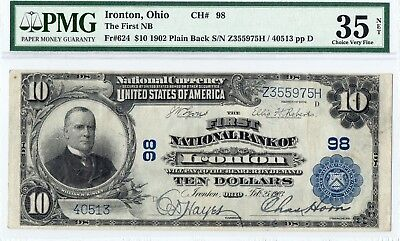 1902 $10 Ironton,Ohio.FR-624  PMG-35