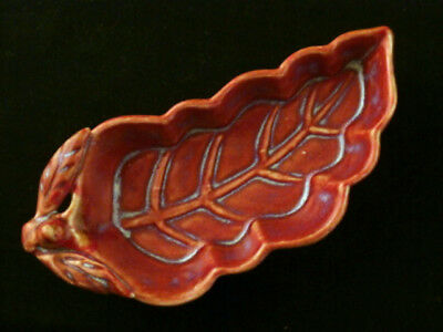 Great Chinese Song Dy Red Jun Porcelain *Leaf* Carved Brush Washer Z137
