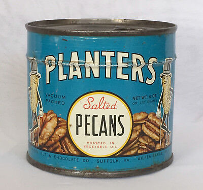Planters Mr. Peanut Full Can of Salted Pecans 1944