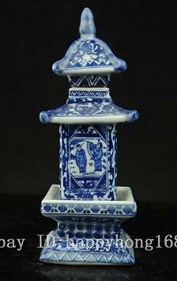 Fine China Hand Painted Blue and White Porcelain layered tower Qianlong Mark