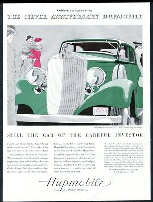 1933 Hupmobile Victoria coupe green car art deco silver ink vintage print ad