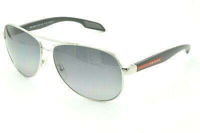 94800aa2e5d Prada SPS 53P Sunglasses 1BC-5W1 Silver   Black   Gray Polarized 62mm