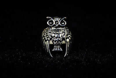 Vintage Collectible handwork Old Tibet Silver carve owl chinese totem Ring