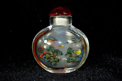 Chinese Old Glass Handwork inside Painting village rare Snuff Bottle