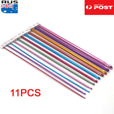 11pcs Colourful Aluminum TUNISIAN AFGHAN Crochet Hook Knit Needles Set Kit 2-8mm