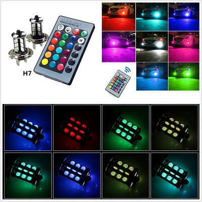 2X H7 LED RGB Multi-Color 5050 27SMD Car Auto Fog Light Bulb With Remote Control