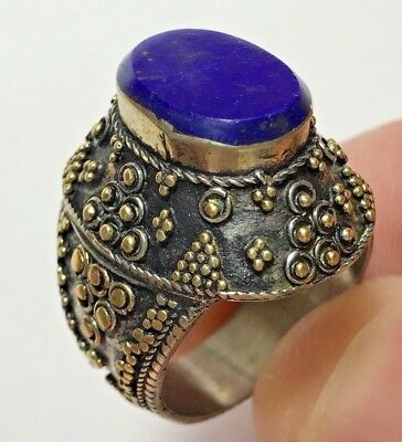 MEDIEVAL SILVER RING LAPIS LAZOULI STONE VERY NICE 19.8gr 27mm (22mm INNER)
