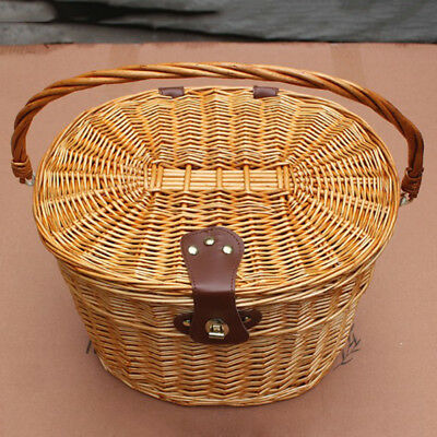 Classic Wicker Bike Bicycle Front Basket Box With Cover Handlebar Leather Straps