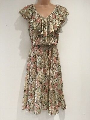 Vintage 70's Cream Dusky Pink & Green Floral Ruffle Trim Belted Day Dress 8-10