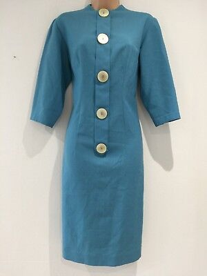 Vintage 1950's Blue Large Chunky Cream Button Detail Fitted Shift Dress Size 16