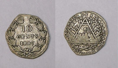 1887-H Nicaragua 10 Cent Silver Inv#330-16
