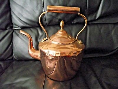 VICTORIAN LARGE COPPER KETTLE WITH ACORN FINIAL LID 7 PINTS 1.7 kg SEE PICTURES