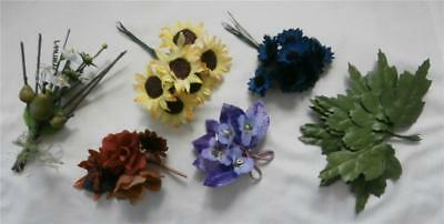 Vintage 1950's Floral Millinery Trim Corsages Sunflower Cornflower Posies Leaves