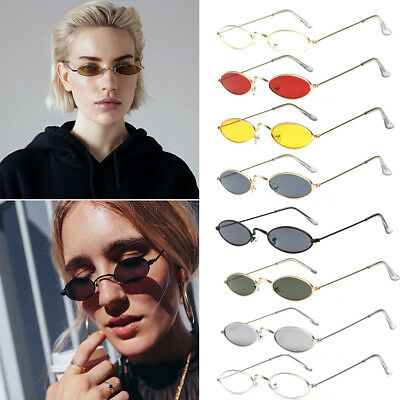 Men's Vintage Small Oval Frame Sunglasses Women's Retro Trendy Tiny Glasses