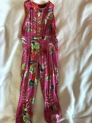 Ted Baker Girls Pink Floral Jumpsuit Playsuit Outfit - Age 3-4 Years VGC