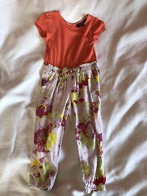 Ted Baker Girls Coral Floral Jumpsuit Playsuit Outfit - Age 2-3 Years VGC