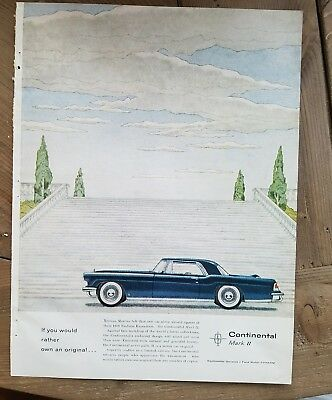 1956 blue Lincoln Continental Mark II car vintage color AD