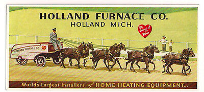 1930's Holland Furnace Blotter Horse drawn wagon Holland Michigan Minty unused